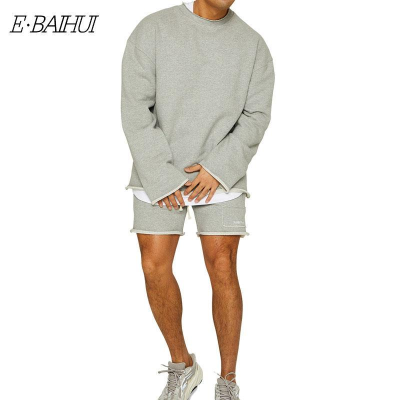 Men's Sweatshirt Suit Brother Sports Round Neck Sweater Five-point Pants Man Casual Training Running Loose Tracksuits