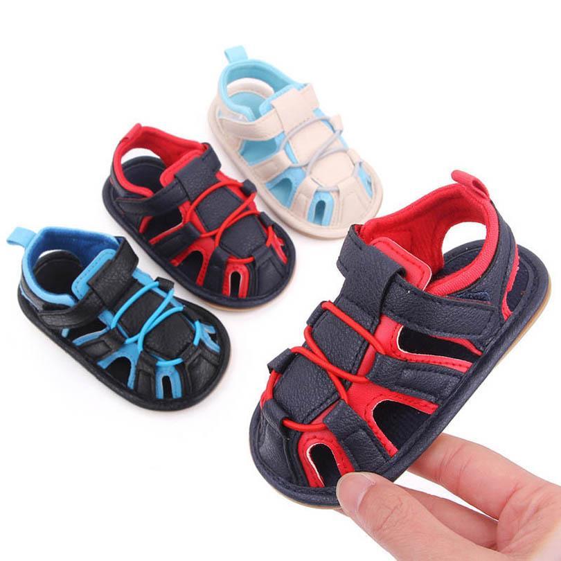 طفل أول مشوا أحذية طفل الفتيان الصنادل الأخفاف لينة الصيف الرضع حذاء الوليد الفتيات الأحذية B6473