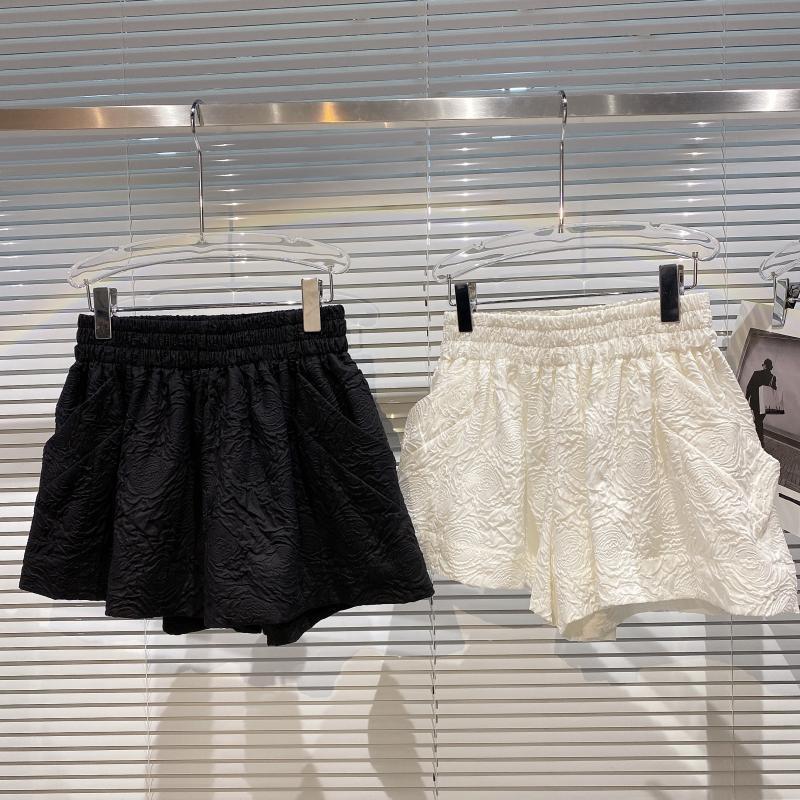 Shorts femininos 2021 verão plissado em relevo tecidos elásticos cintura solta de perna larga