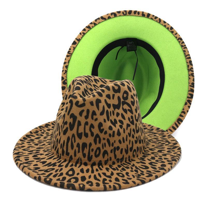 Einfache Unisex flache Krempe Wollfilz Jazz Fedora Hüte Männer Frauen Leopard Grün Unterseite Patchwork Trilby Panama Formale Top Caps