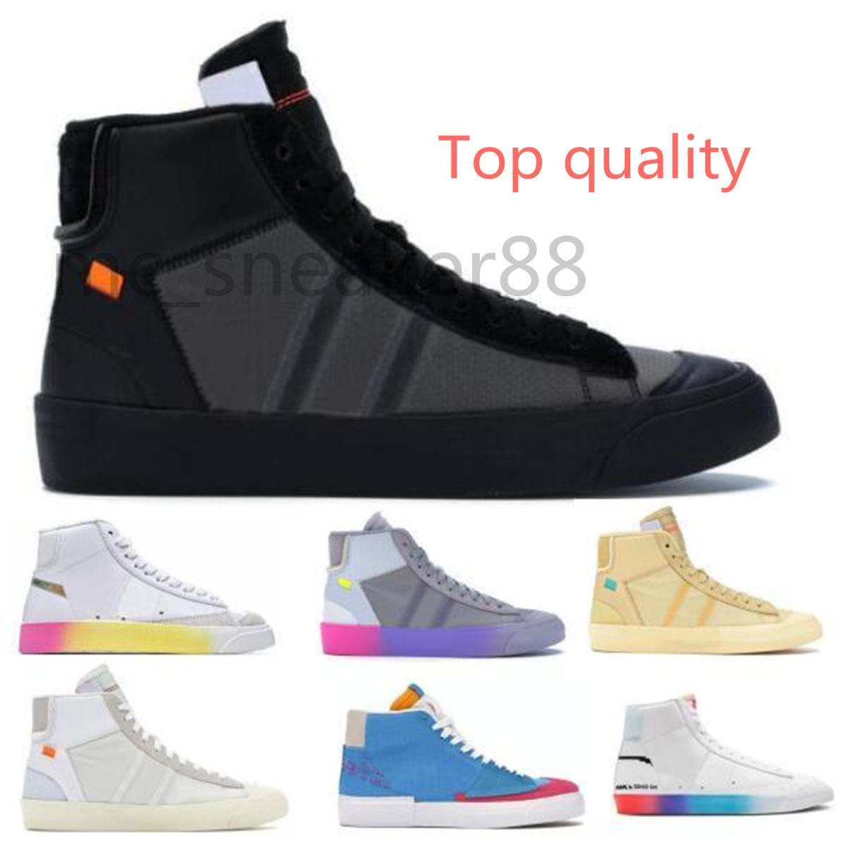 Off-White x Nike Blazer OW 뜨거운 2021 mens 중반 2.0 짜증 찌푸라기 모든 HALLOWS 이브 백색 세레나 윌리엄스 레인보우 여성 캐주얼 신발 블레이저 블랙 크기 36-45