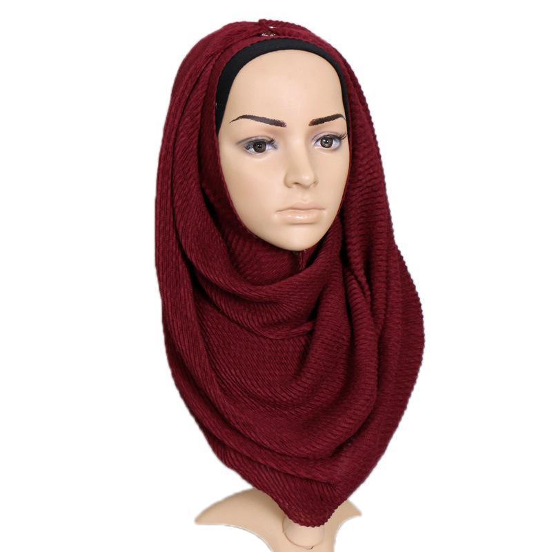 2021 vestuário muçulmano monocromático algodão puro plissado lenço feminino multicolorido honeycomb rugas lenço de turbante mulheres muçulmanas hijab