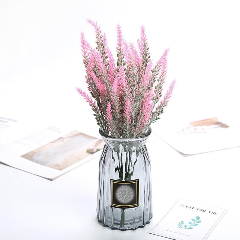 Decorative Flowers & Wreaths 12 Bundles Fake Artificial Lavender Faux Plastic Purple For Home Wedding Festival Holiday Living Room Decoratio