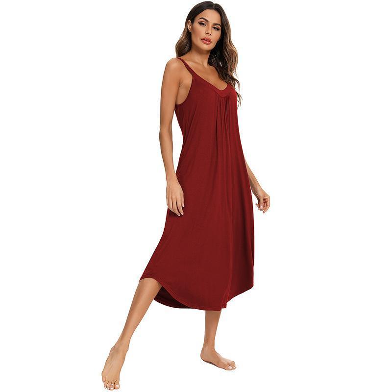 Kadın Gecelikler 2021 Ev Giymek Elbise Kadınlar Için Gevşek Katı V Boyun Kolsuz Backless Kaşkorse Uzun Gecelik Kadın Pijama Witbuy