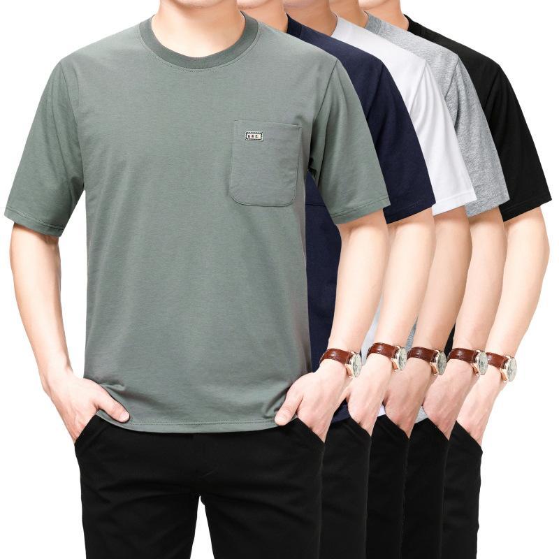 T-shirt à manches courtes et âgés d'été Homme d'été Mens Cotton Poche ancienne Chemise de papa de grande taille pour hommes