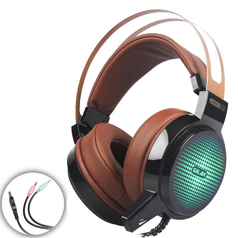Bandeau de casque de jeu câblé VOGEK avec micro / LED lumière sur l'oreille Stéréo Basse profonde pour ordinateur RVB Color Gamer Casques Q0313