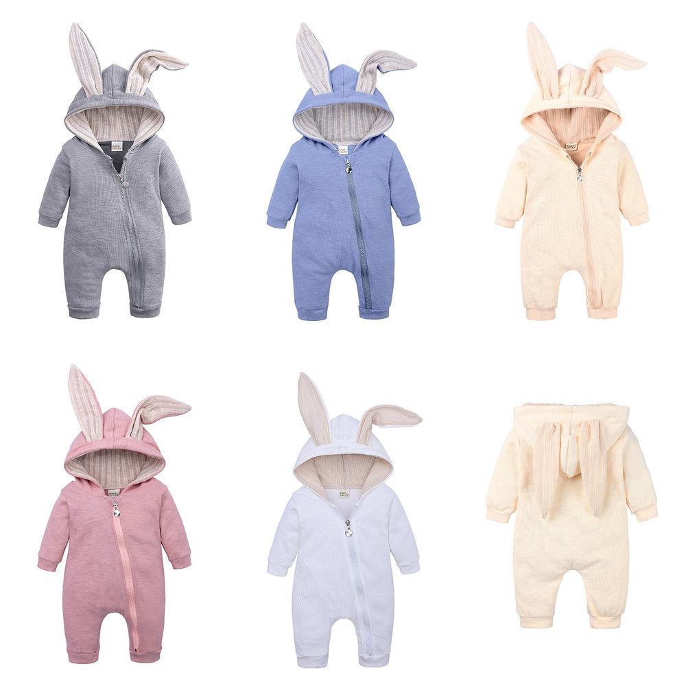 Милый малыш детские розыгрыши новорожденных младенца кролика уши кролика шляпа комбинезон комбинезон с длинным рукавом на молнии один кусок брюки yousies h23enav