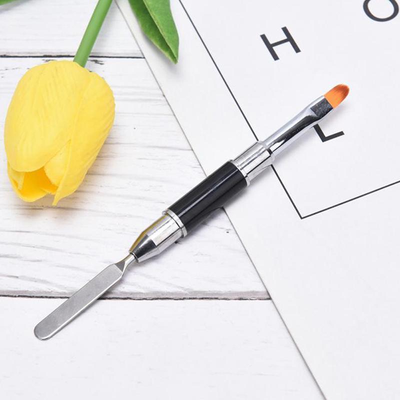 1 adet 2-in-1 çift uçlu çift kullanımlı tırnak aracı tırnak kalem fırça ve seçici paslanmaz çelik renk çubuğu çiçek fırçası