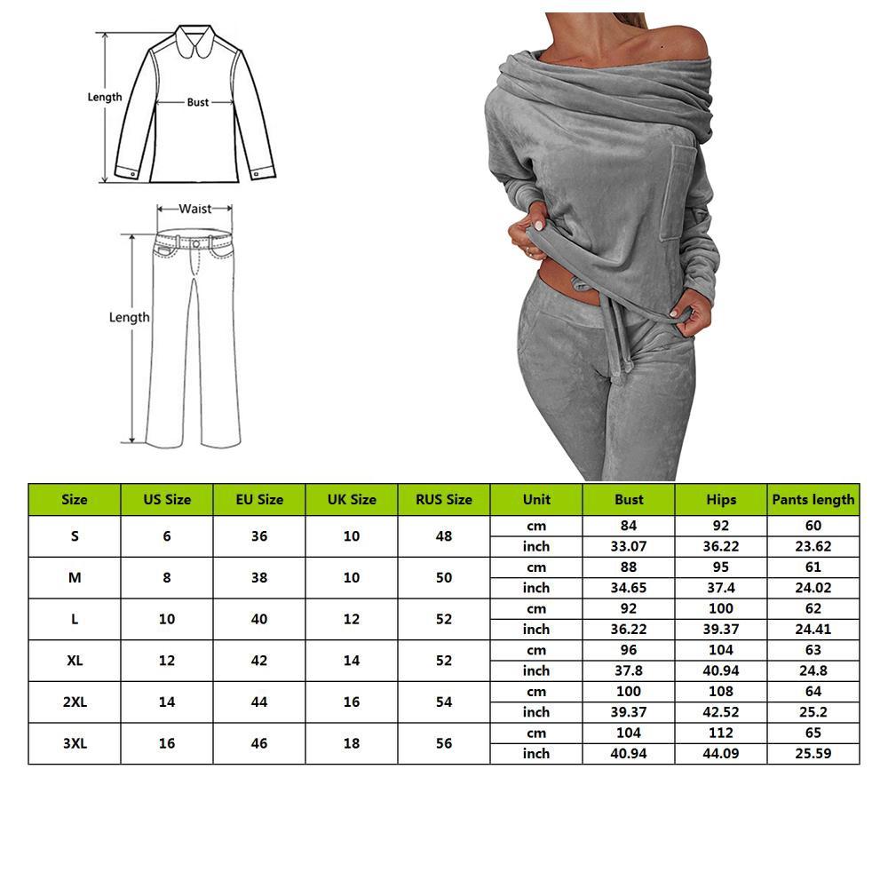 fashion Sweatshirt Women 2 Pieces Set Tracksuit sexy One Shoulder Sweatshirt Pants Sets Sport Wear Tracksuit Velvet Lounge Suit
