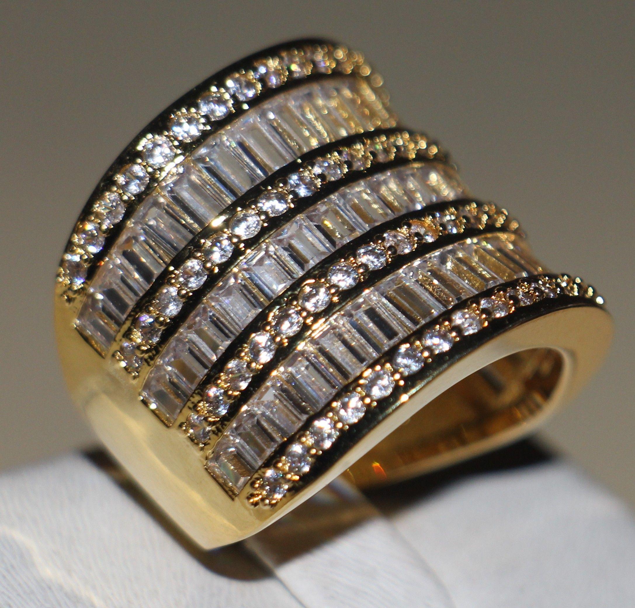 Victoria Wieck Women Luxury Jewelry Princess Cut 925 Sterliing Silver Yellow Gold Plated Topaz Simulated Diamond Wedding Band Ring Size 5-11