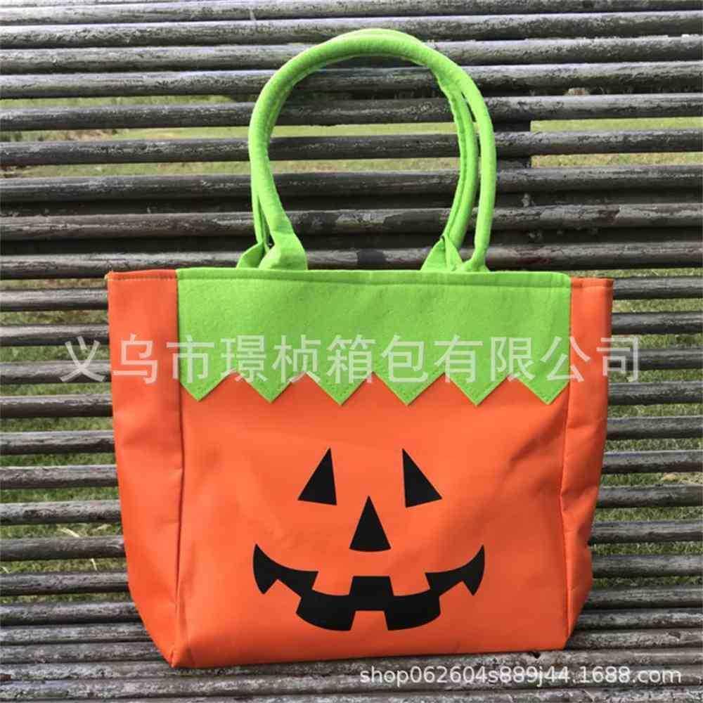 Halloween Decorative Gift Bag Pumpkin Portable Sail Cloth Cartoon Ghost Print Handbag Candy Bags Party Lunch Box School Book Pack G85KT5X