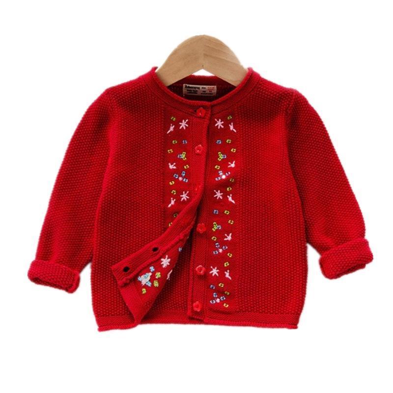 Cardigan rouge pull baby-pull mignon bambin veste simple poitrine rose gris gris bébé utéreur 12 24 mois de bébé fille vêtements OGC215505