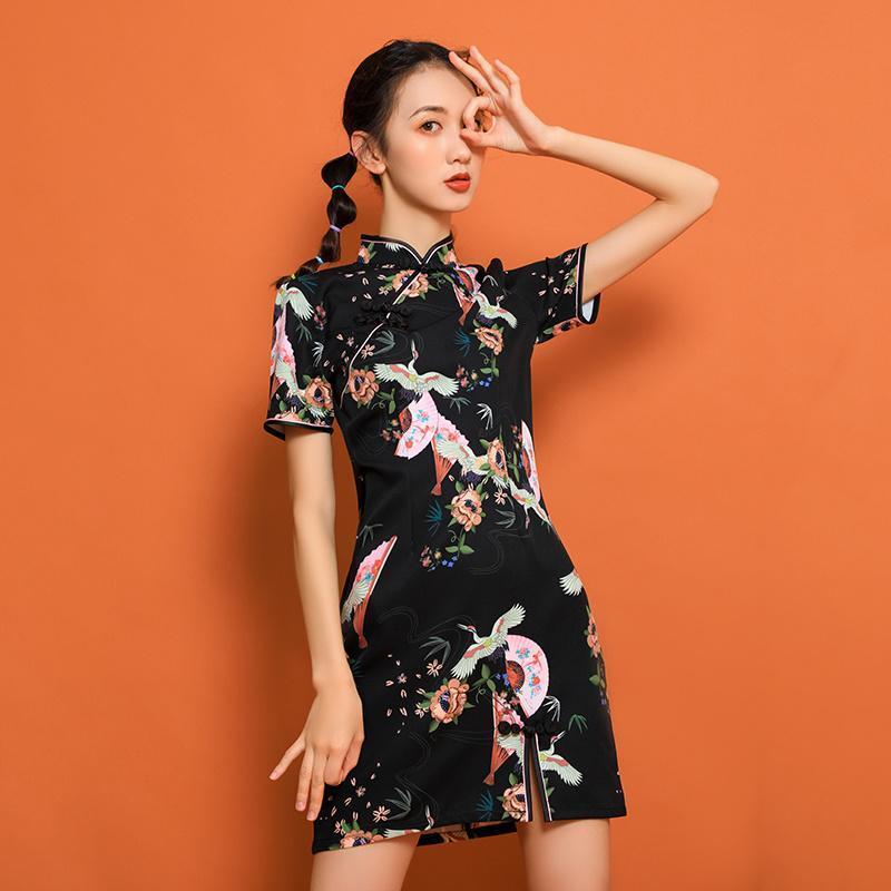 Ropa étnica Mujer China Estilo Qipao Elegante Lady Cheongsam Moda Oriental Japonés Harajuku Retro Print Vestido Partido Vestidos Vintage