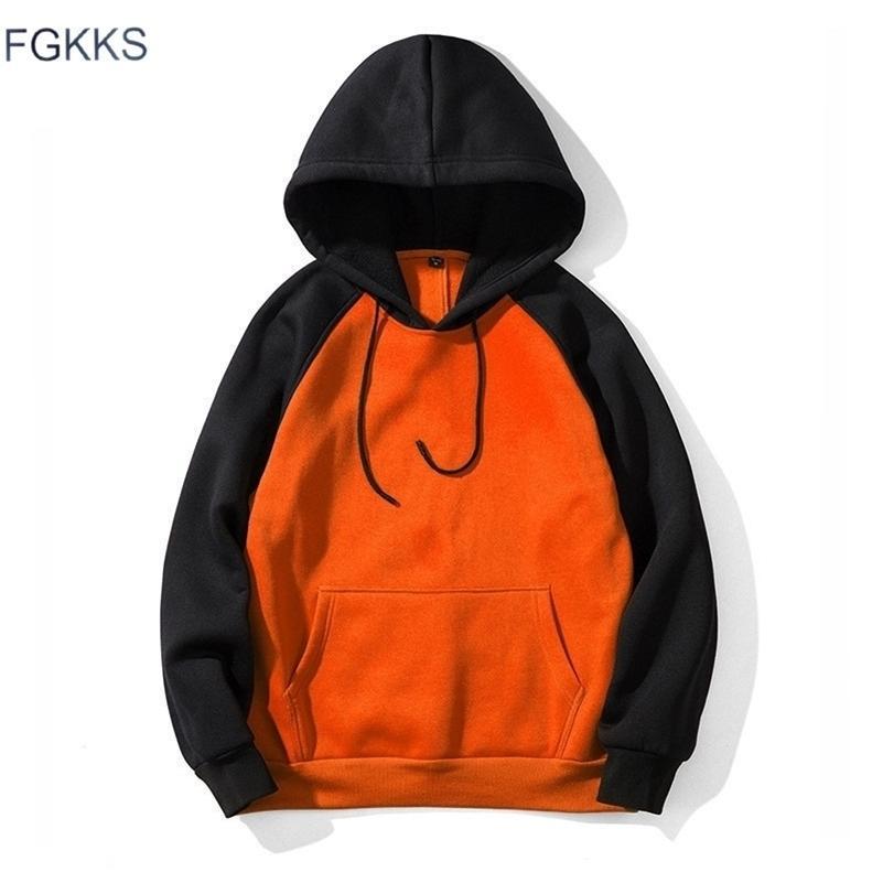 FGKKS Fashion Brand Мужские толстовки Splice Top Spring Осень Мужской Хип-хоп Повседневная Толстовка Мужские Толстушки Уличная Одежда Hoodie 201020