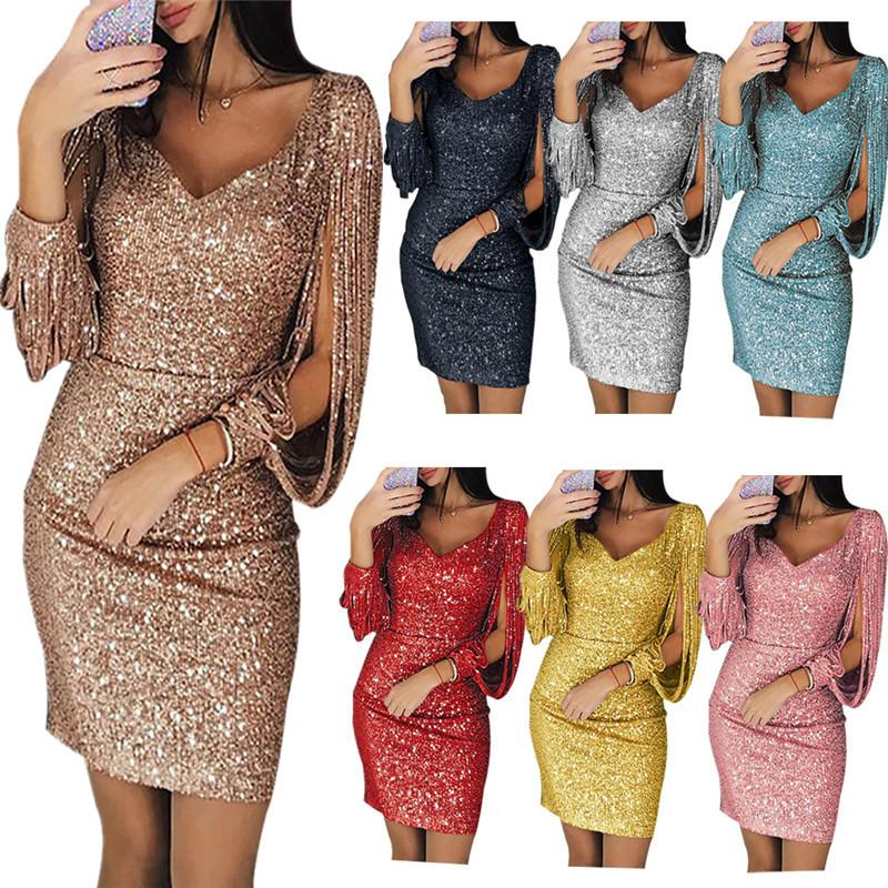 Women Fashion Dress Sexy Vneck Dresses Shiny Fringe Skirt Club Slim Wrap Hip Dresses Pure Color Concise Style Hot Dresses 2021