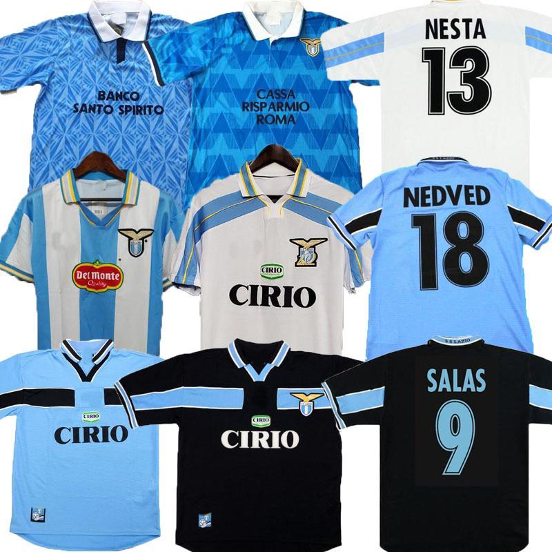 ريترو لازيو 1989 1990 1991 1998 1999 2000 2001 لكرة القدم الفانيلة Nedved Simeone Salas Gascoigne 89 91 98 99 00 01 Veron Crespo Nesta Shirts