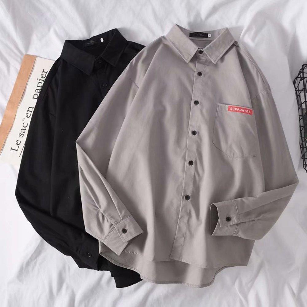 Printemps manches longues style hong kong style de style hong kong hanajuku manteau home lâche usure pouce chemise