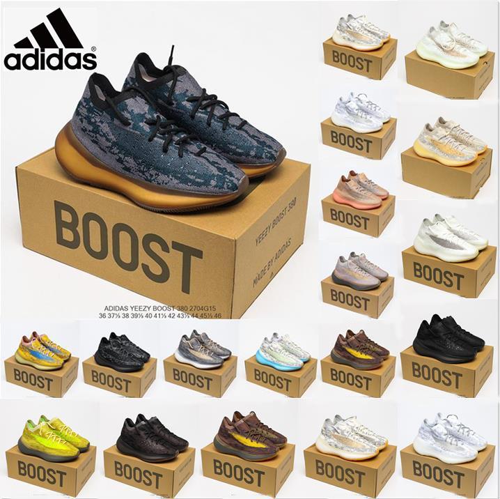 Adidas Originals yeezy Boost 380 кроссовки чужеродные синие каменные соли Covellite мужские моды Екорайте РЧ светистые перца овсяные oat lmnte туман повышает 380s мужские кроссовки женщин