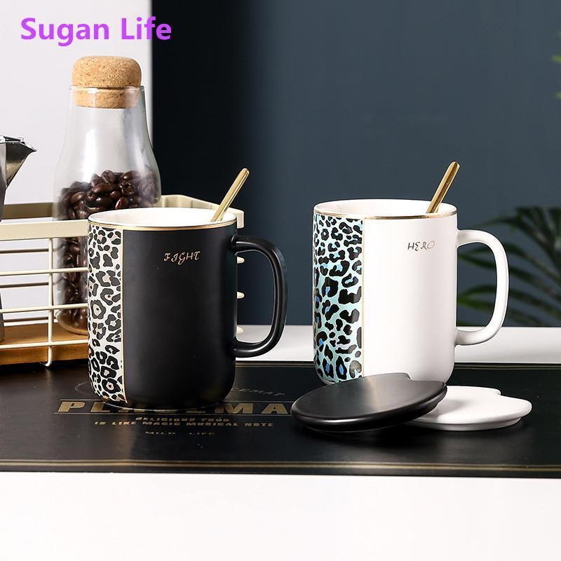 Neue Bone China Kaffeetasse Leopard Tiger Streifen mit Löffel 380ml Gold Inlay Milk Becher Retro Porzellan Kaffeetasse Drinkware