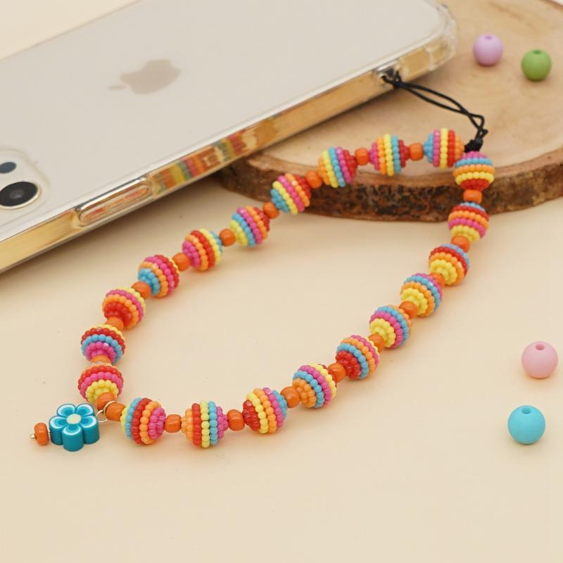 Link, Chain Handmade Beaded Womens Bohemian Cell Cord Phone Ethnic Style Multicolored Striped Beads Mobile Rope