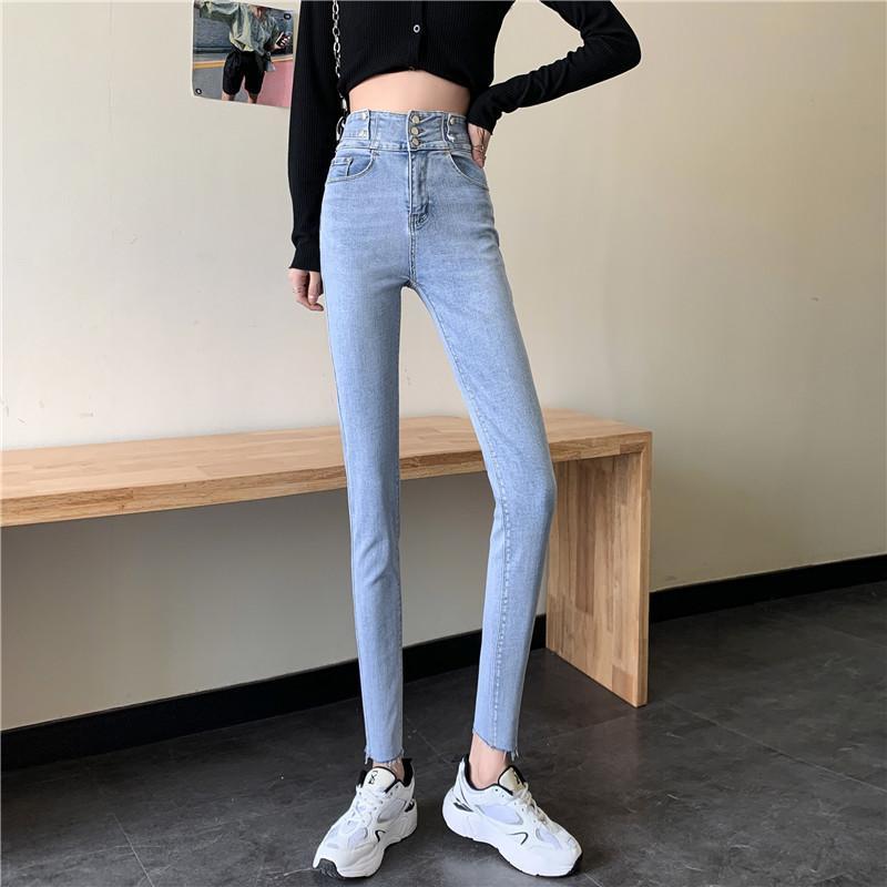 Jeans feminino cintura alta 2021 Primavera magro leggings versáteis collants xt022603