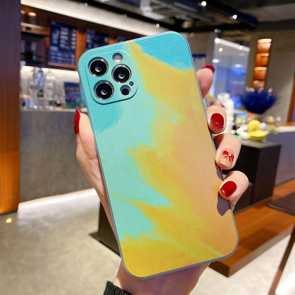 Sanat Suluboya Tarzı Yumuşak Silikon Telefon Kılıfları Için iphone 12 Pro Max 11 7 8 Artı Koruyucu Kapak Moda Çiçek Tasarımları Ile Kız Kadınlar