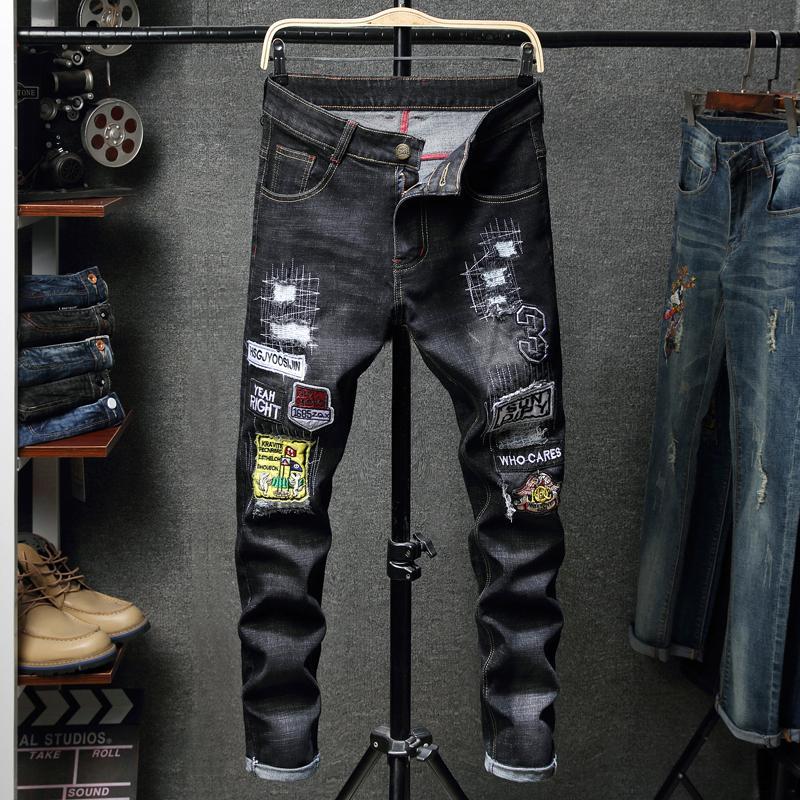 2021 Novo Pantalon Homens Retro Moda Preta Bordado Buraco NY Jeans Motocicleta Motocicleta Equitação Denim Calças Plus Size 28-38 Baor