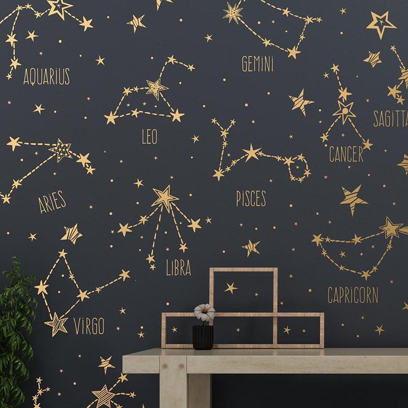 Mão desenhada constelações do zodíaco e decalques de estrela grande coleção da parede vinil adesivos murais decoração do quarto frete grátis 2152 210308