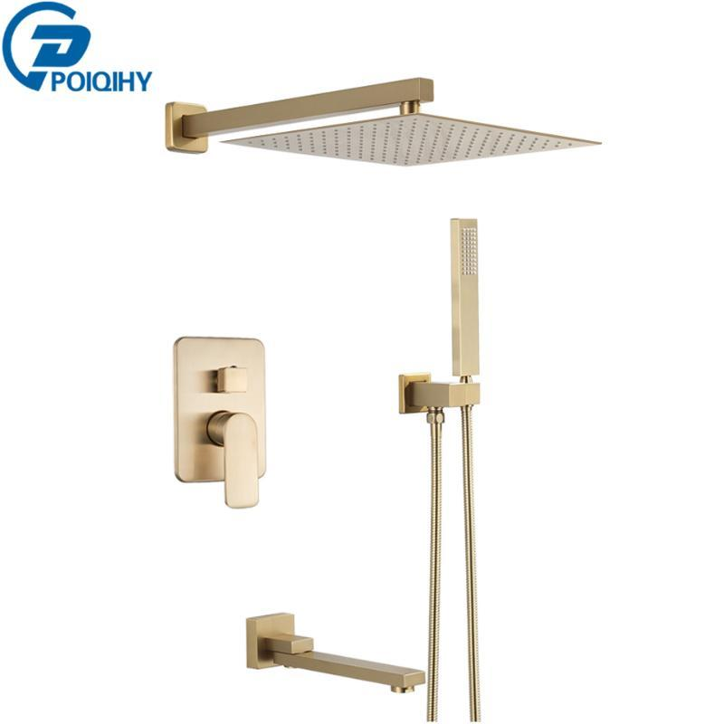 POIQIHY Brushed Gold Shower Faucets Set Bathroom Rainfall Shower System Embedded Box Wall Mounted Mixer Tap Faucet
