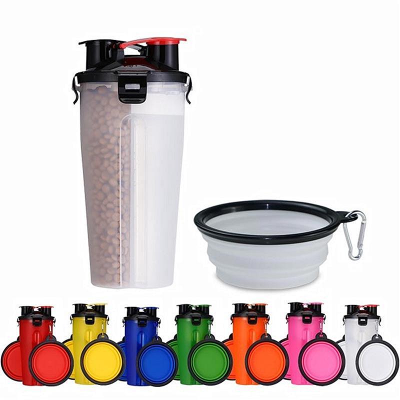 Portatile PET Bottle Feeder Dog Food Dog Water Water Ciotole Piatto Tazza da viaggio all'aperto Bere Forest Food Forniture Contenitore multifunzione