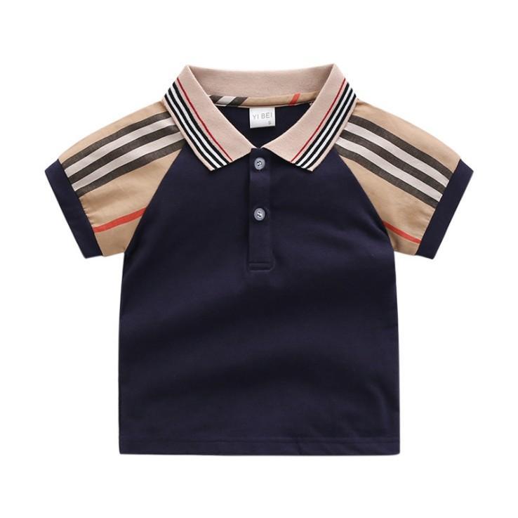 2021 جديد الصيف طفل الفتيان القمصان الاطفال القطن قصير الأكمام تي شيرت الأطفال بدوره أسفل الياقة قمم قميص الطفل