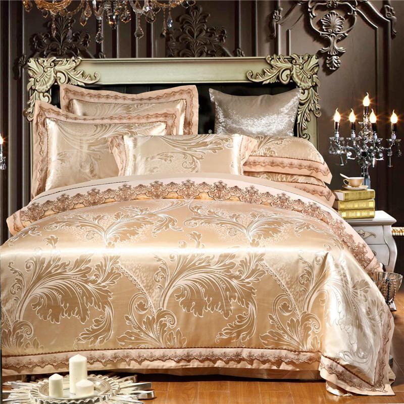 Flecken Sie Seide Jacquard Baumwollspitze Bettdecke Bettwäsche Bettwäsche Set Luxus King Queen Size BettSheet Set Kissen Lit Shams de Adulte PARURE
