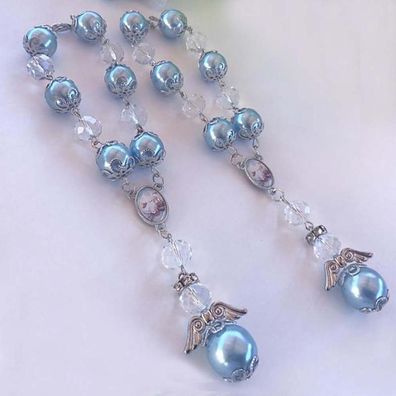 12 шт. Ручной работы Blue Bitsist Bapors Mini Rosary Recuerdos de Lbautizo Cretings Horsors Задние зеркала
