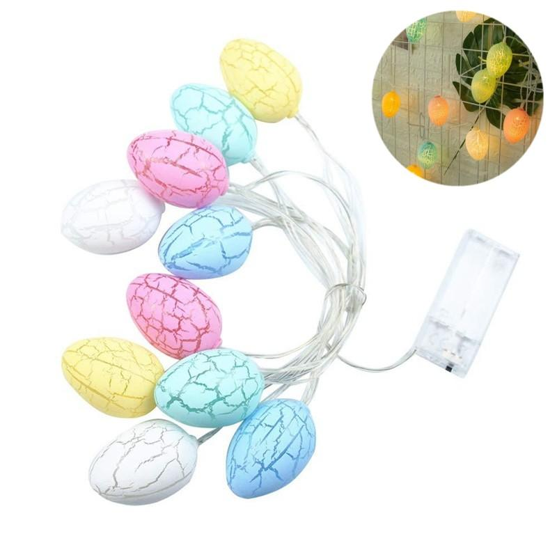 LED String Light Cracked Decorative Pattern Color Eggshell Lamp Plastic 10 Lamps Egg Battery Free Easter Party Decoration Fashion 7cx G2