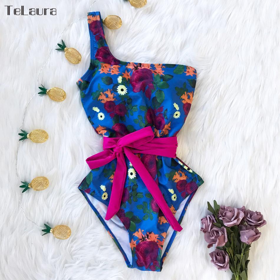 مثير قطعة واحدة ملابس السباحة النساء ملابس السباحة رفع monokini طباعة ضمادة واحدة الكتف المايوه ارتداءها شاطئ ارتداء الإناث 210312