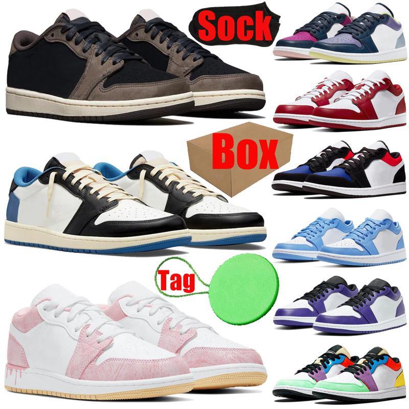 Avec Boxtagsock Jordan1s Air Jordan Retro 1 1S Bas Basketball Chaussures Mens Femmes Fragment Court Purple Unc Hommes Femmes Formatrices Sporteurs Sporteurs