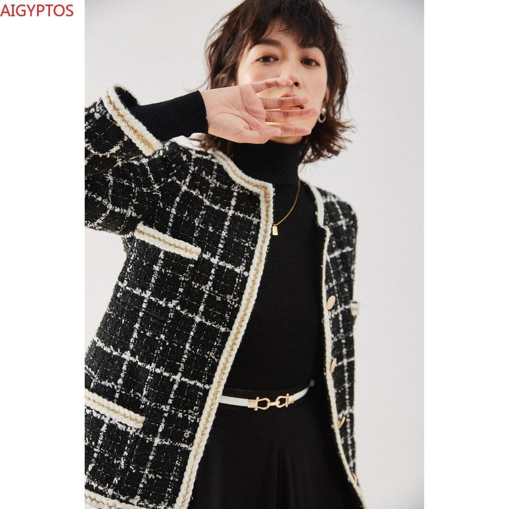 Мода 2021 Новая осенью и зимняя раунда шеи темперамент короткий топ Французская элегантная кружевная тканая куртка женские женские джексецКТВТяк8ц