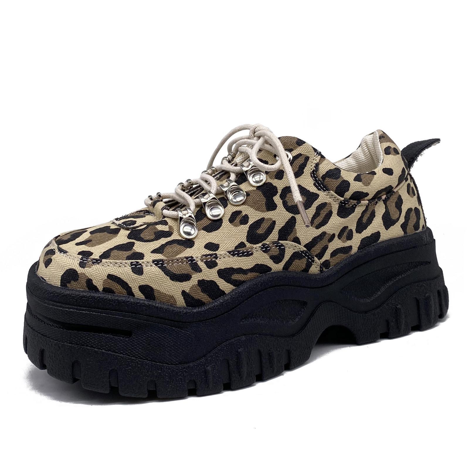 Weibliche plus Samt dicke Sohlen Schuhe 2021 Frühling und lässig Winter All Match Street Trend Erhöhungen in Leopard drucken Knöchelstiefel 0GTD