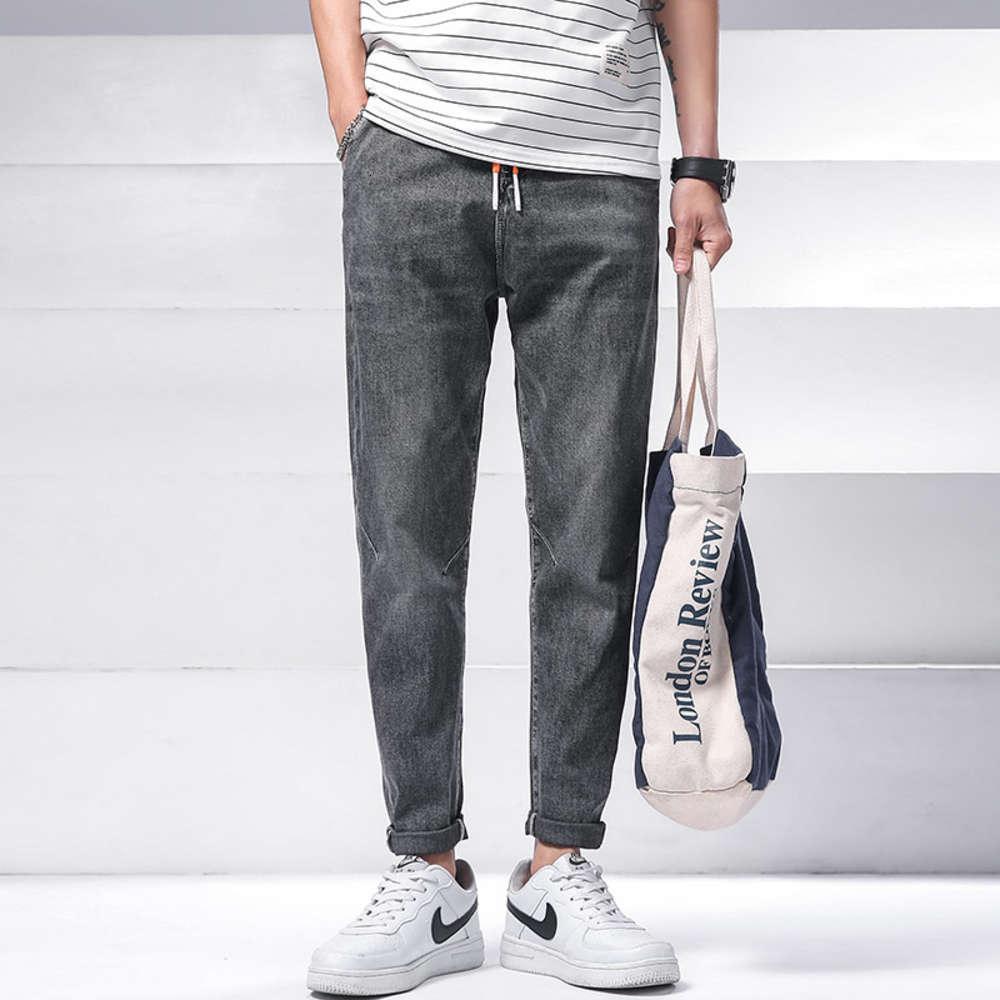 Джинсы осень мужская корейская мода универсальная эластичная свободная нога случайные и модные штаны