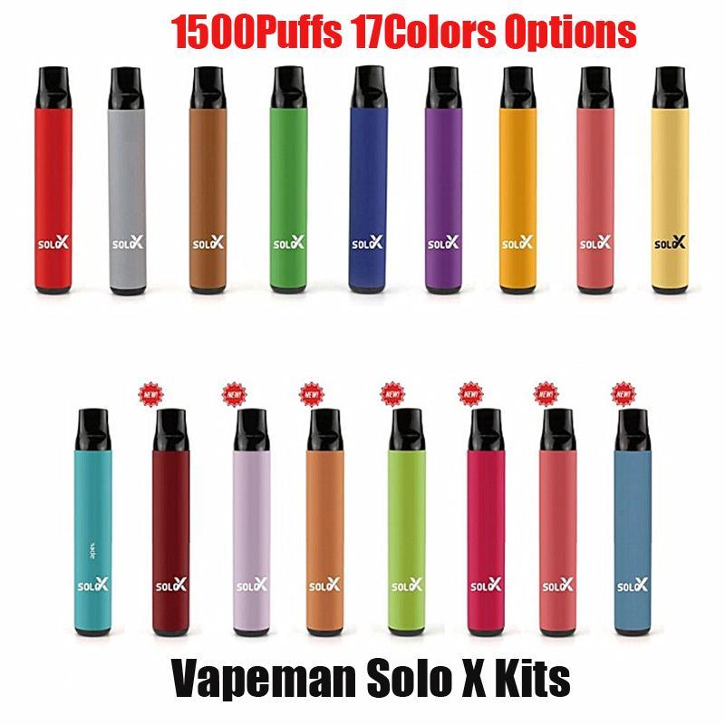 VAPEMAN SOLO X Dispositivo di sigarette monouso per sigarette monouso 850mAh 1500 sbuffi da 4,2 ml Premilled Vape Pen Stick Starter Kit VS Bar Plus
