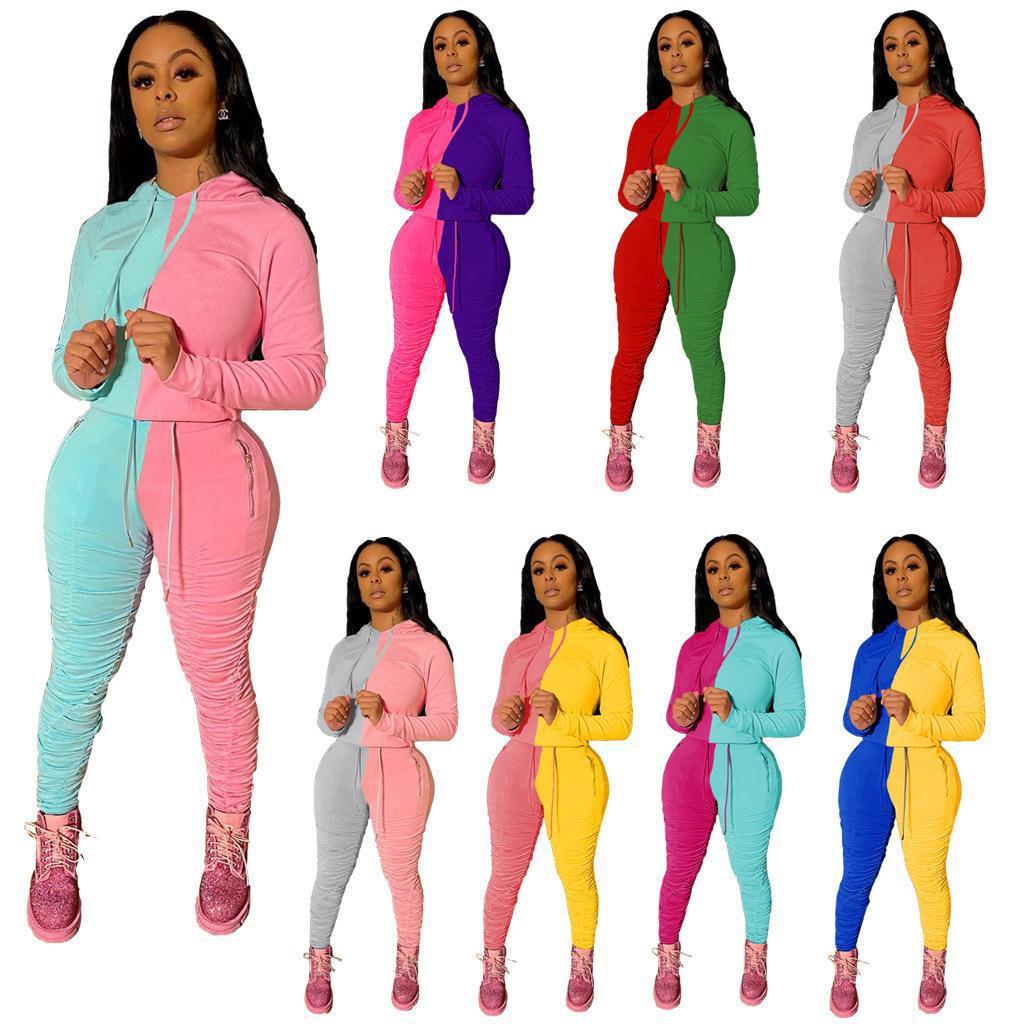 Womens Zwei 2 Stück Hosen Set Mode Trainingsanzug Langarm Hoodie Nähte Kontrast Tops Hosen Outfits Damen Casual Plus Size Kleidung
