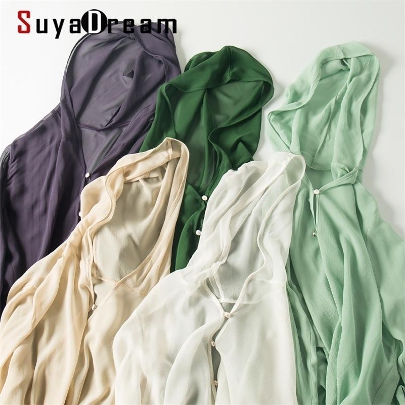 Suyadream Kadınlar Kapüşonlu Bluz 100% Ipek Georgette Katı Şifon Düğme Bluz Gömlek Yaz Güneş Koruma Bezi Y200828