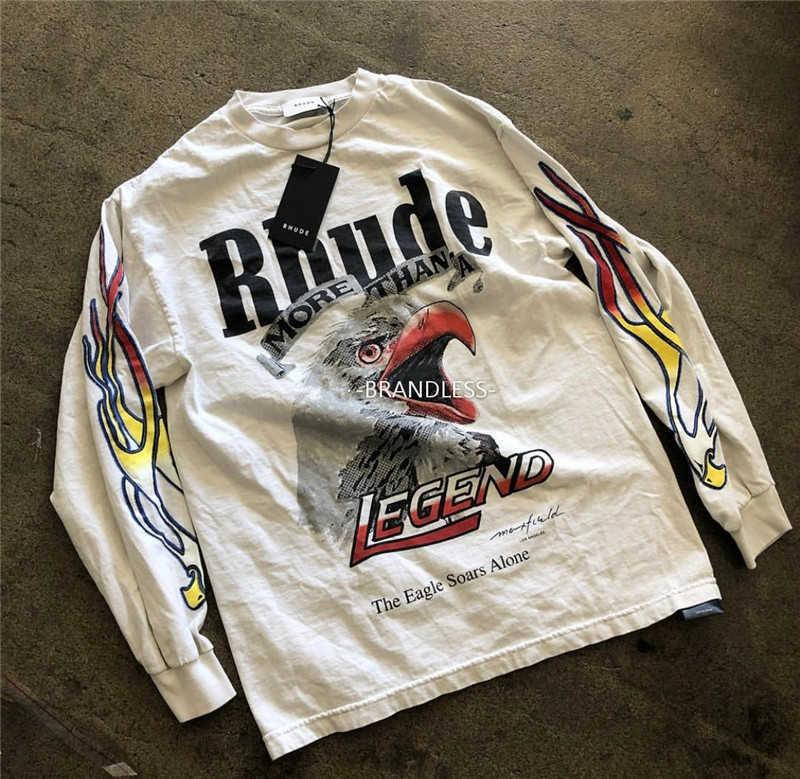 RHUDE X Maxfield La Oversize T-shirt da uomo Donne Donne 1: 1 Manica lunga di alta qualità Rhude X Maxfield La T Shirt Rhude T-shirt T200420