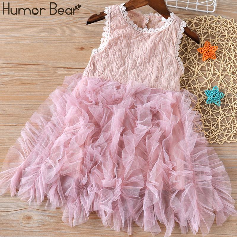 Humor Bear New Summer Niños Ropa Ropa de Niñas Ropa de verano Hilo de costura Puff Princess Dress Baby Girls Dress Ropa para niños C0223