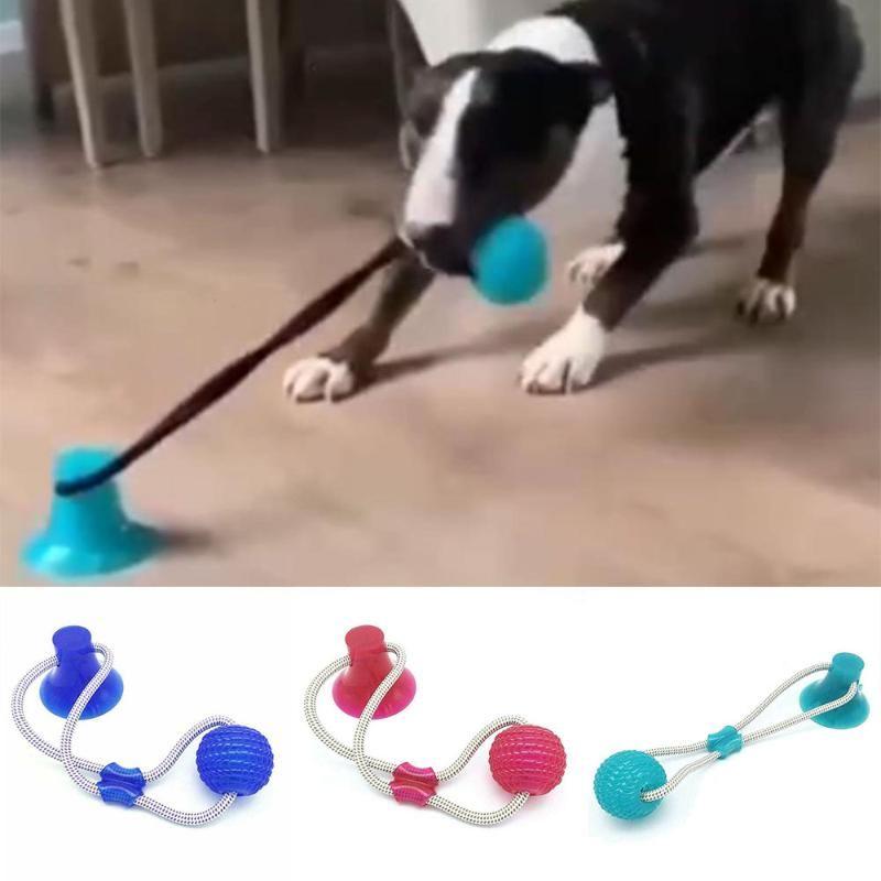 Собака Интерактивная присасывая чашка Push Ball Игрушки Эластичные веревки Собака Очистка зубов Играть в IQ Депрессия Лечить игрушки Pet E11449