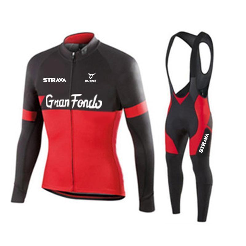 2021 Strava Red Men 사이클링 저지 긴 소매 세트 MTB 자전거 의류 Maillot Ropa Ciclismo Hombre 자전거 착용 19D Gel Bib 바지