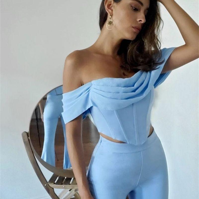 Женщины осень сексуальные с плеча неба голубые драпированные две части повязки набор 2021 дизайнер знаменитости высокая улица мода женский набор 210316