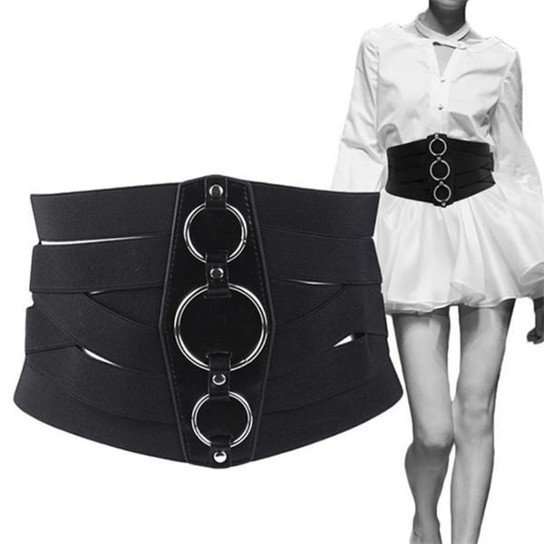 Fashion Corset Belt Women waist Elastic Cummerbunds PU Leather plus size belt wide designer Waistband silver Metal Cummerbund C0306