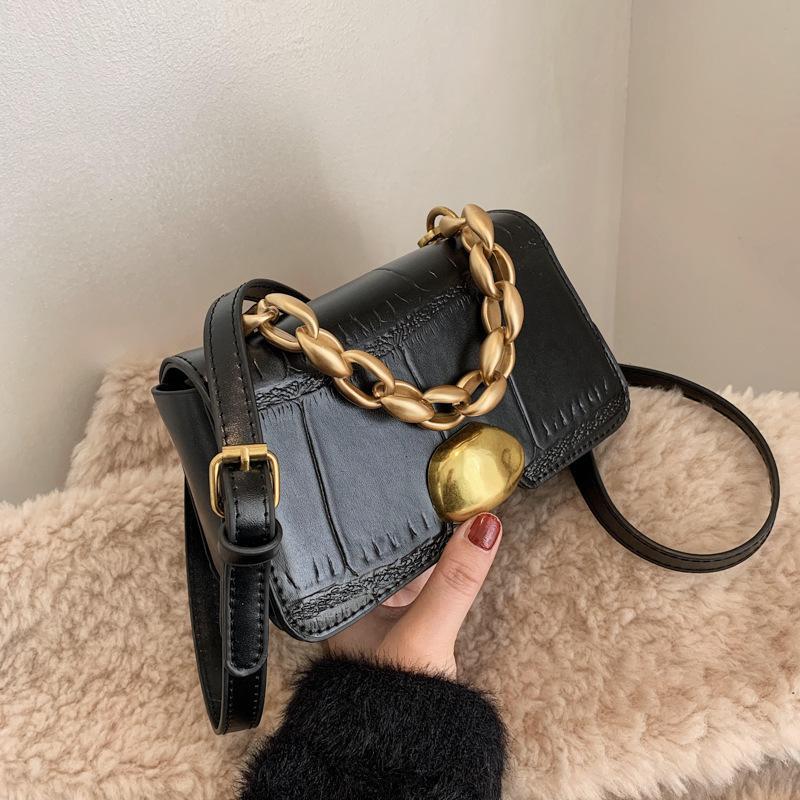Женская осень и зима 2021 новая мода универсальный мессенджер камень текстура маленькая квадратная сумка