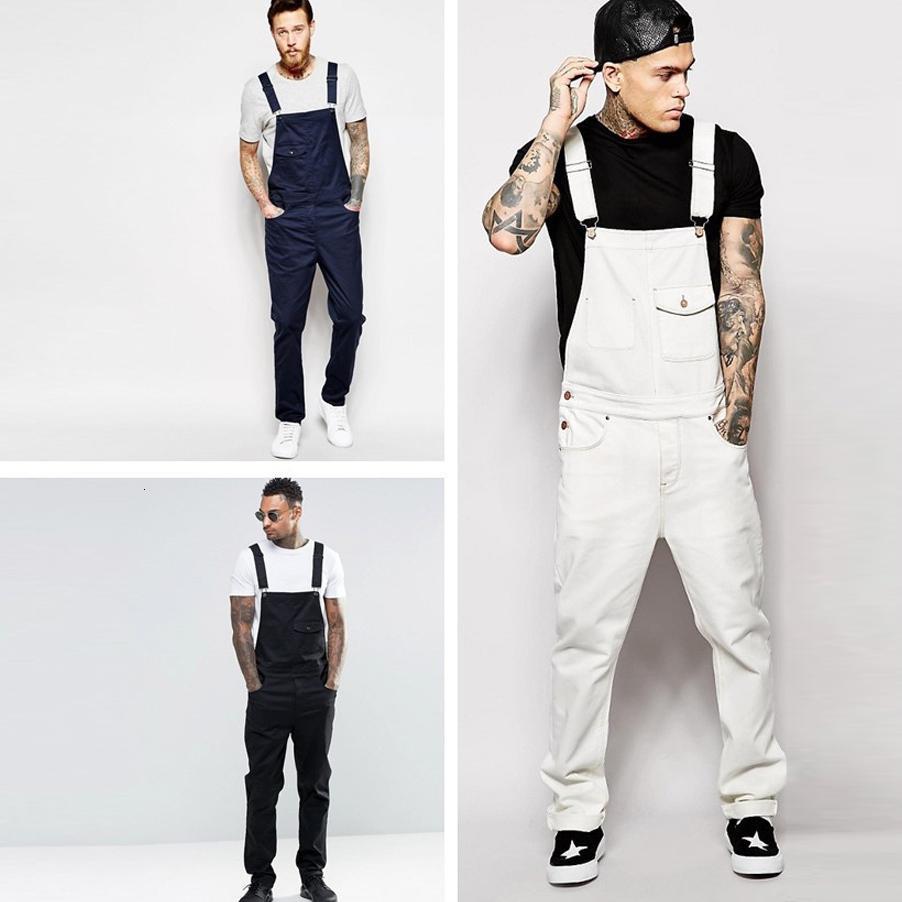 2021 New Fashion Mens Long Jumpsuits Pocket Jeans Jumpsuit Streetwear Overall Suspender Plus Size Pants Pantalones Babero Q93x